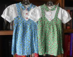 50's Little Girls' Pinafore Dress ~ Choose Blue OR Green ~ Size 5 ~ Polka Dots & Flowers ~ Deadstock NEW without Tags by VMaleDetroitVintage on Etsy