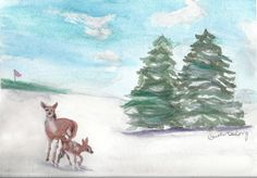Original Artwork, deer in winter Christmas on the Course by TheMousersHouseArt on Etsy
