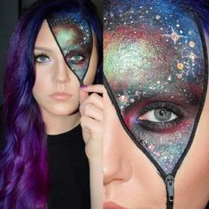 Cool zipper styled galaxy inspired fantasy makeup accented with gems by Brittany Couture.