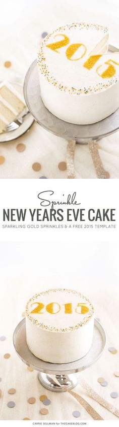 DIY Sprinkle New Years Eve Cake | step-by-step tutorial and free template | by Carrie Sellman for TheCakeBlog.com