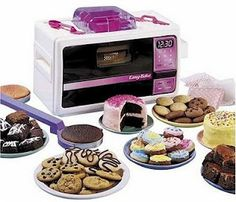 Easy Bake Ovens...I so had the one that made little pizza..yeah...add water to the packet of sauce...mmmm (ick)