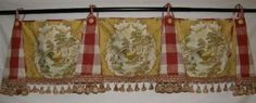 Custom Swag Valance French Country Red Gold Rooster Toile Buffalo Check Trim NEW