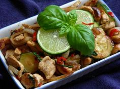 Basil Chicken and Cashew Nuts from Food.com:   This recipe comes from Easy Chinese cookbook by Elizabeth Chong.  I will add more vegies & omit the sugar.