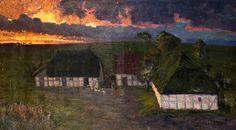 """Carl Hessmert (Fürstenberg 1869 - Berlin 1928) """"Bauernhof im Abendlicht"""" Er lebte zeitweise in Kolberg und hat viele pommersche Küsten-und Dorfmotive gemalt."""