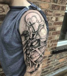 What does shield tattoo mean? We have shield tattoo ideas, designs, symbolism and we explain the meaning behind the tattoo. Armour Tattoo, Shield Tattoo, Templar Knight Tattoo, Tattoo Guerreiro, Body Art Tattoos, Sleeve Tattoos, Tattoo Sleeves, Medieval Tattoo, Soul Tattoo