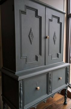 Cedar Hollow - Beautiful piece painted in Dixie Belle's Stormy Seas, grunge glazed and waxed! Black Painted Furniture, Paint Furniture, Furniture Makeover, Painted Dressers, Furniture Projects, Kitchen Armoire, Kitchen Redo, Kitchen Remodel, Chalk Paint Dresser