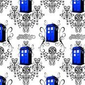 TARDIS Travels Damask (347 views)  A whimsical damask featuring Gallifreyan symbols such as the Doctor's name, the Seal of Rassilon, filligrees and swirligigs, and the TARDIS. Perfect for decorating an elegant interior for the discerning Mad Man with a Box.