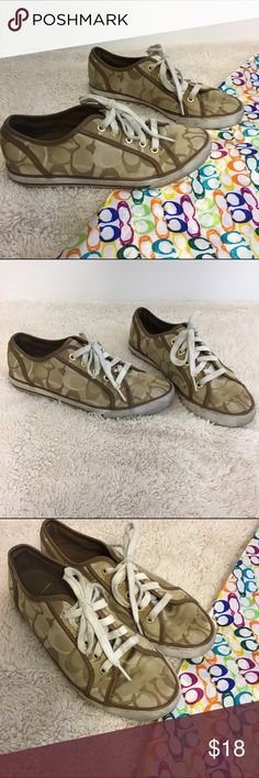 Coach Lace Ups Coach Lace Up Tennis Shoes Brown Tones Size • 7 Worn with lots of life left Coach Shoes Sneakers