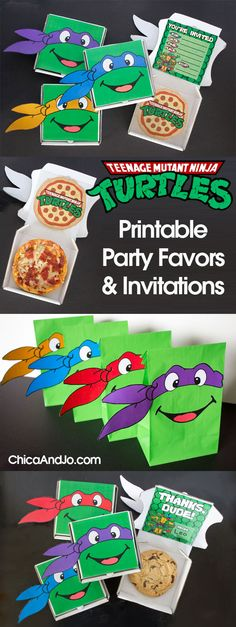 Mutant Ninja Turtles party favors and invitations Teenage Mutant Ninja Turtles (TMNT) party favors and invitations Ninja Turtle Party, Ninja Party, Turtle Birthday Parties, Ninja Birthday, Carnival Birthday, Birthday Ideas, Ninja Turtle Invitations, Teenage Mutant Ninja Turtles, Teenage Turtles