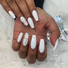 48 Stylish Acrylic White Nail Art Designs and Ideas - White Acrylic Nails - Marble Acrylic Nails, Best Acrylic Nails, Summer Acrylic Nails, Acrylic Art, Water Marble Nails, Black Marble Nails, White Acrylics, White Summer Nails, Black Nails
