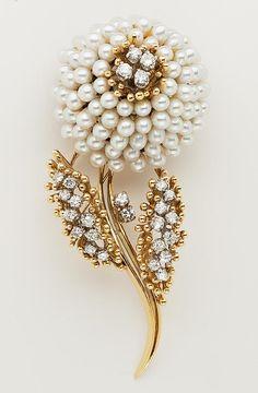 Pearl and Diamond Flower Brooch signed GE, 18 KYG. Circa 1960