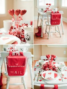 a sweet set up for a valentines day party