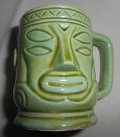 "Vintage Tiki Mug Mini Shot Glass Lt Green Japan Mid Century 2"""