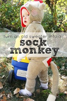 If you are searching for easy DIY Halloween costumes this year, look no further! This adorable little sock monkey is made out of a sweater!… Sock Monkey Costumes, Baby Costumes, Sock Monkey Halloween Costume, Diy Halloween Costumes For Girls, Halloween Kostüm, Halloween Tricks, My Bebe, Old Sweater, Sweaters
