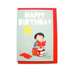 Image of Happy Birthday Bookworm card by Elissa Elwick