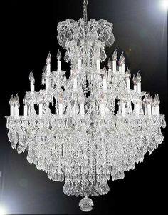 A83-SILVER/21502/36+1SW Swarovski Crystal Trimmed CHANDELIER Chandeliers, Crystal Chandelier, Crystal Chandeliers, Lighting