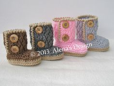 Crocheted TwoButton Baby Booties  Babies Boys by AlenasCreations