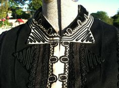 Black and white victorian Mourning Blouse (detail), from RENDIGS LOTHMAN CO, Wool Silk
