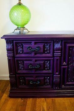 Modernly Shabby Chic Furniture: Barney the Purple Dresser and Night Stand #shabbychicbedroomsfurniture #shabbychicdresserscolors