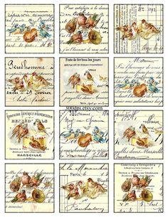 Vintage Printable Tags Background Digital Collage Sheet by 300dpi, $3.50 Vintage Tags, Vintage Labels, Vintage Prints, Decoupage Vintage, Decoupage Paper, Fabric Dolls, Rag Dolls, Decoupage Printables, Freebies