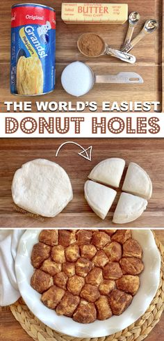 Vegetarian · Makes 32 · Looking for popular quick and easy dessert recipes? Try making these cinnamon sugar donut holes with just 4 ingredients! Pillsbury biscuits, butter, cinnamon and sugar. The BEST easy homemade baked… Baked Donut Holes, Donut Hole Recipe, Doughnut Holes, Pillsbury Biscuit Recipes, Recipes For Biscuits, Mousse Au Nutella, Homemade Baked Donuts, Quick Easy Desserts, Easy Kids Dessert Recipes