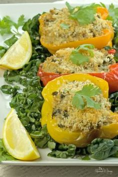 Quinoa Stuffed Bell Peppers are packed with protein and the flavours of crab, spinach and goat cheese. Perfect, tasty one dish dinner.
