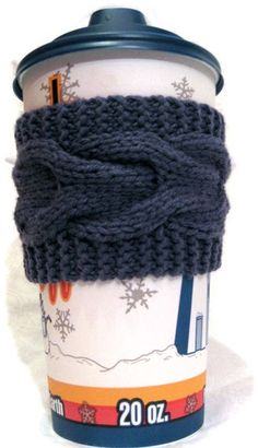 Cozy, cable knit coffee sleeve