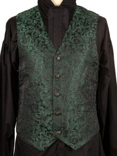 362GN - Green Brocade Waistcoat
