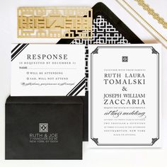 Gorgeous luxury wedding invitations from Tie That Binds.