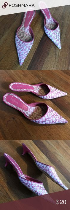 BCBG Signature Kitten Heels BCBG hot & pink slides in great condition! Sz 9 BCBGirls Shoes Mules & Clogs