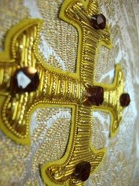 Handmade and Embroidered Catholic Vestments -- made to order and tailored from the highest quality materials for the Glory and Honor of God Bullion Embroidery, Gold Embroidery, Embroidery Jewelry, Embroidery Designs, Religious Icons, Religious Art, Gold Work, Cross Designs, Roman Catholic
