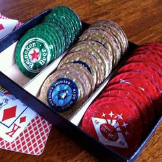 Taking beer bottle caps and making into poker chips