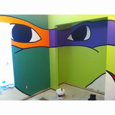 DIY TMNT.  This may be a little much for me but maybe one wall?