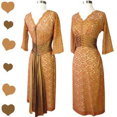 Vintage 50s Dress Sienna Brown Lace Cocoa Satin by pinupdresses