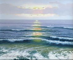 Seascape Paintings, Landscape Paintings, Ocean Wallpaper, Ocean Scenes, Amazing Paintings, Sea Art, Sea Waves, Colorful Drawings, Landscape Photos