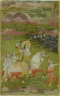 Chand Bibi Hawking with Attendants in a Landscape, ca. 1700. India, Deccan. The Metropolitan Museum of Art, New York. Louis E. and Theresa S. Seley Purchase Fund for Islamic Art, 1999 (1999.403) | Here Chand Bibi rides a white horse, whose lower half has been colored red with henna to symbolize its wading through blood (or bravery in battle). #horses