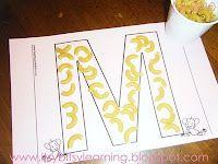 Letter M with macaroni.  cute!
