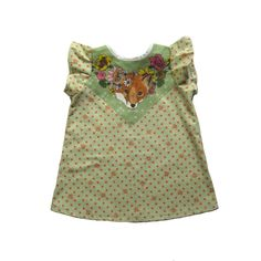 polka dot fox print baby toddler dress by supayana on Etsy