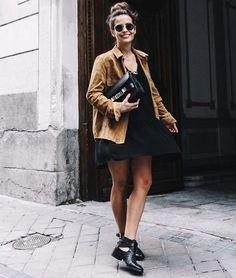 look street style jaqueta suede e botas