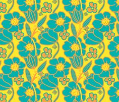 Big Mod Floral 8 inch Teal, Orange and Yellow fabric by vinpauld on Spoonflower - custom fabric