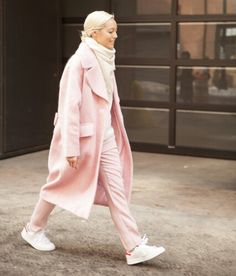 Pink light trench coat, pale white top combination
