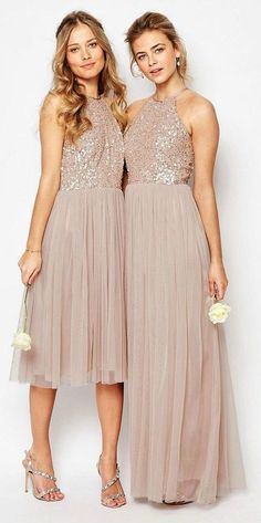 Simple Halter Bridesmaid Dresses,Tulle Beading Dresses,Long and Short Dresses,232