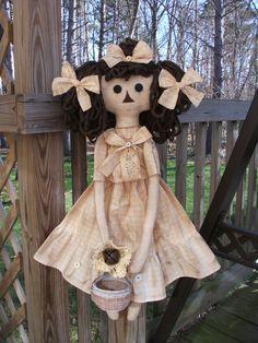 Folk Art PrimiTive SPRING Summer GruNgy Dress Sun Flower Raggedy Ann Annie DOLL #NaivePrimitive #MelissaHarmon