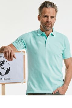 Tricou polo de bărbați din 100% bumbac organic pique, pieptănat și filetat. Servicii #personalizare: #broderie, #DTG, #serigrafie, #termotransfer Pure Products, Tees, Casual, Mens Tops, Fashion, Sash, Pique, Embroidery, Moda