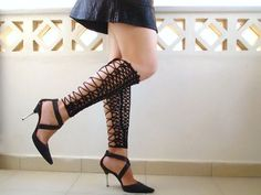 Crochet laced up leg warmers, black sexy nude shoes, victorian lace, fishnet knee socks, steampunk