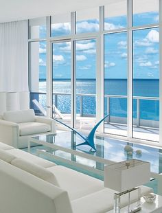 You can have an all white room look colorful when you're THAT close to the blue ocean
