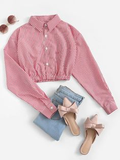 Striped Single Breasted Crop Blouse - Source by - Crop Top Outfits, Cute Casual Outfits, White Shirt Outfits, Casual Frocks, Frock Design, Batik, Clothing Hacks, Mode Style, Aesthetic Clothes
