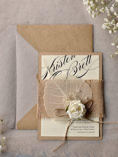 Eco Chic Invitation, Eco Recycling  Invitations, Burlap  Wedding Invitations , Rustic Wedding invitation,