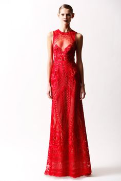 Red and embroidered, this sneaky little peekaboo floor duster garners rave reviews, holiday cheer and amazing workmanship. Naeem Khan | Pre-Fall 2014 Collection | Style.com
