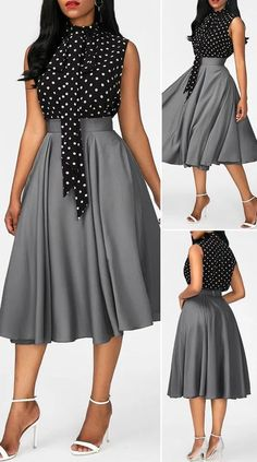 Kleider Mit Glockenrock High Neck Printed Black top and Grey Skirt Africaine Cute Dress Outfits, Classy Work Outfits, Classy Dress, Stylish Outfits, African Maxi Dresses, Latest African Fashion Dresses, Women's Fashion Dresses, Elegant Dresses For Women, Pretty Dresses